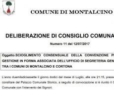 Delibera Comunale sullo scioglimento della convenzione con Cortona