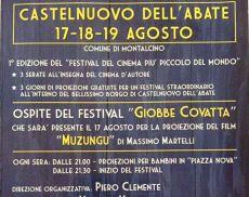 Il manifesto della prima edizione del Festival del cinema più piccolo del mondo a Castelnuovo dell'Abate