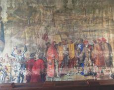 Sipario di scena del Teatro degli Astrusi con l'arrivo a Montalcino degli esuli senesi del 1555