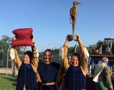 Il capitano e gli arcieri del Quartiere Ruga, vincitore del Torneo di Apertura delle Cacce 2019