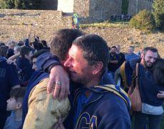 Le lacrime di Giampaolo Pierangioli, alla sua ultima gara da presidente della Ruga